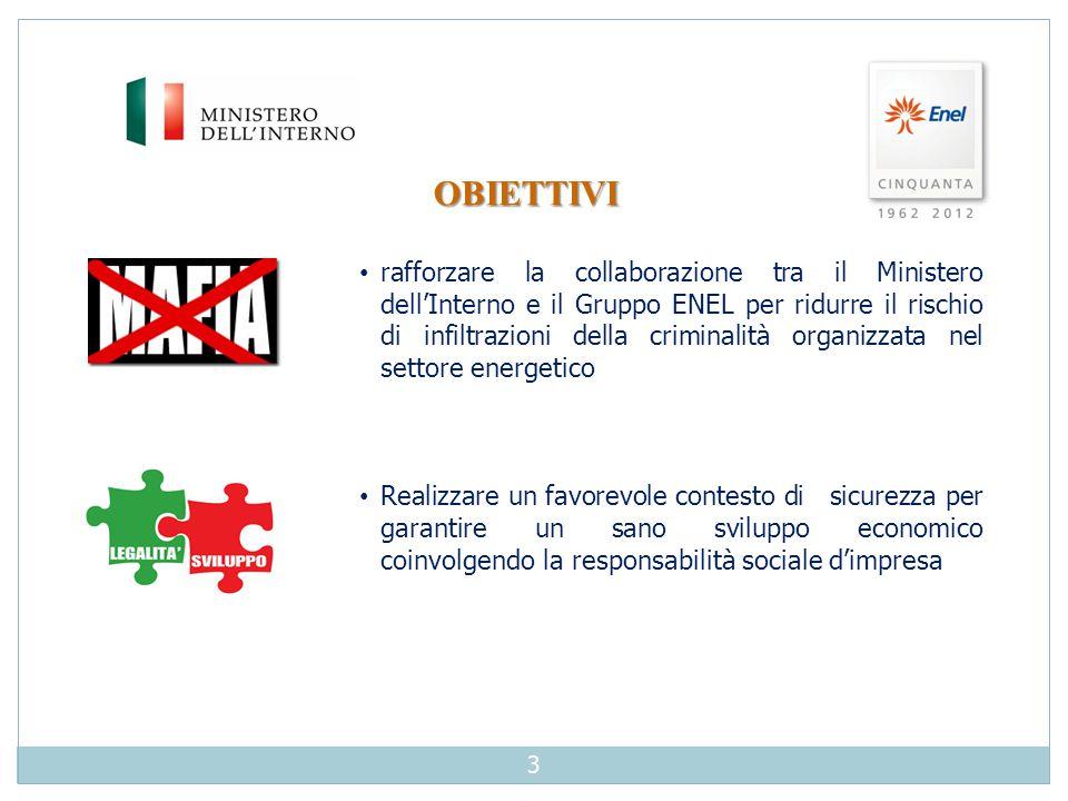 OBIETTIVI rafforzare la collaborazione tra il Ministero dell'Interno e il Gruppo ENEL per ridurre il rischio di infiltrazioni della criminalità organi