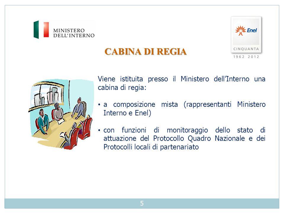 CABINA DI REGIA Viene istituita presso il Ministero dell'Interno una cabina di regia: a composizione mista (rappresentanti Ministero Interno e Enel) c