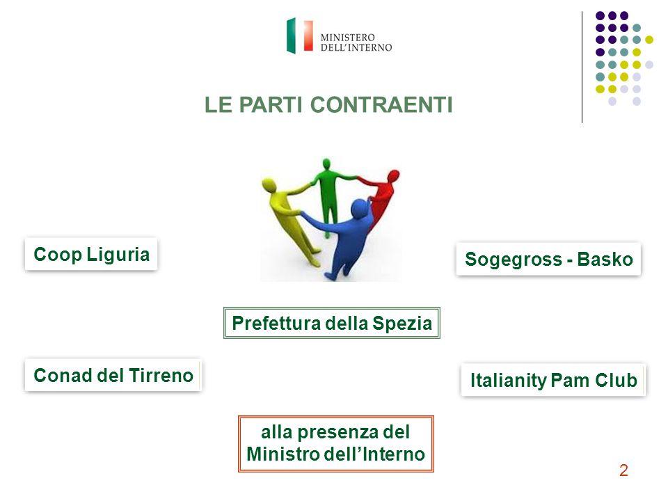 LE PARTI CONTRAENTI Coop Liguria Conad del Tirreno Sogegross - Basko Italianity Pam Club Prefettura della Spezia alla presenza del Ministro dell'Inter