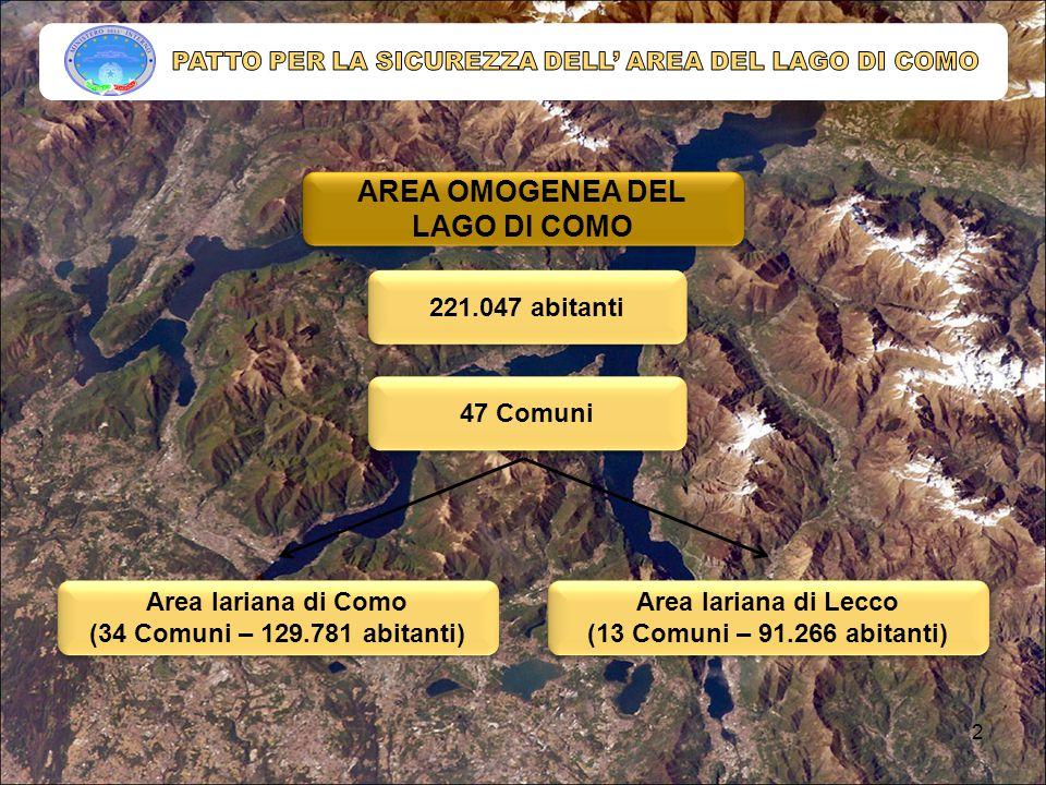AREA OMOGENEA DEL LAGO DI COMO 221.047 abitanti Area lariana di Como (34 Comuni – 129.781 abitanti) Area lariana di Como (34 Comuni – 129.781 abitanti