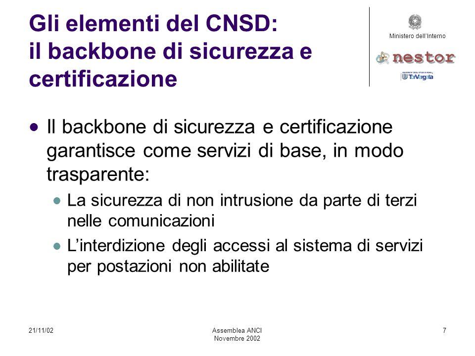 21/11/02AssembleaANCI Novembre2002 8 Glielementidel CNSD: ilbackbonedisicurezzae certificazione È il protocollo di comunicazione utilizzato per l'accesso ai sistemi del CNSD.