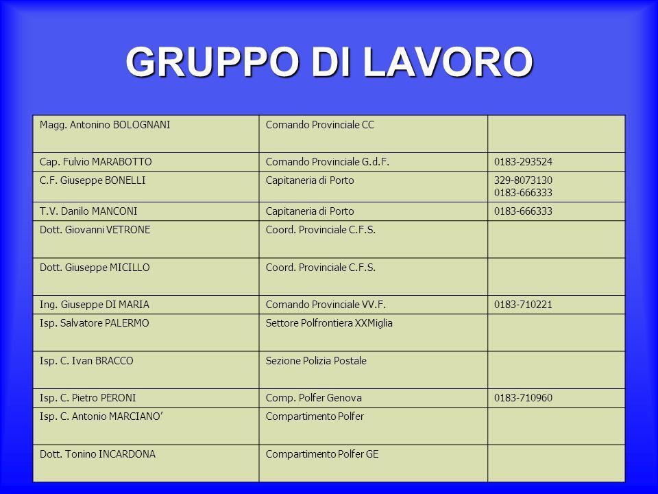 GRUPPO DI LAVORO Dott.ssa Sara MANCINELLIComando Sezione Polstrada Isp.
