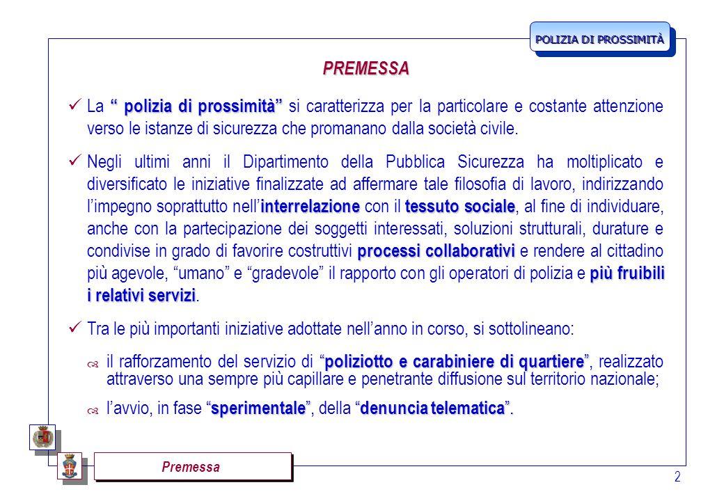 POLIZIA DI PROSSIMITÀ 3 Il rafforzamento della polizia di quartiere IL RAFFORZAMENTO DELLA POLIZIA DI QUARTIERE Nel maggio del corrente anno, sono stati già immessi in servizio 500 operatori, tra Agenti della Polizia di Stato e Carabinieri.