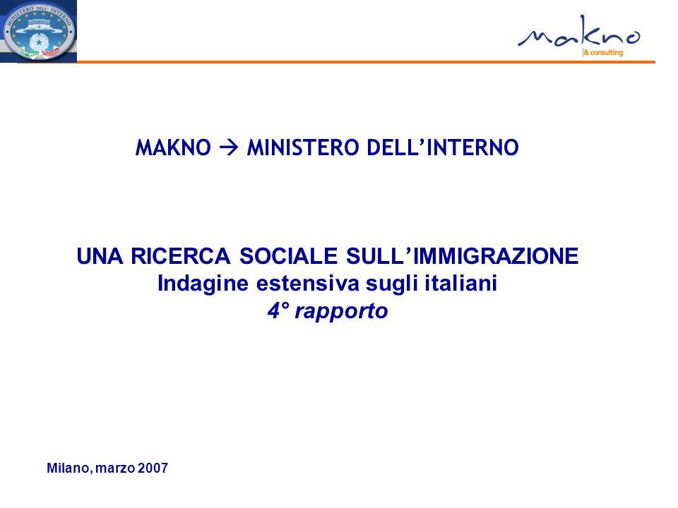 Milano, marzo 2007 MAKNO  MINISTERO DELL'INTERNO UNA RICERCA SOCIALE SULL ' IMMIGRAZIONE Indagine estensiva sugli italiani 4° rapporto