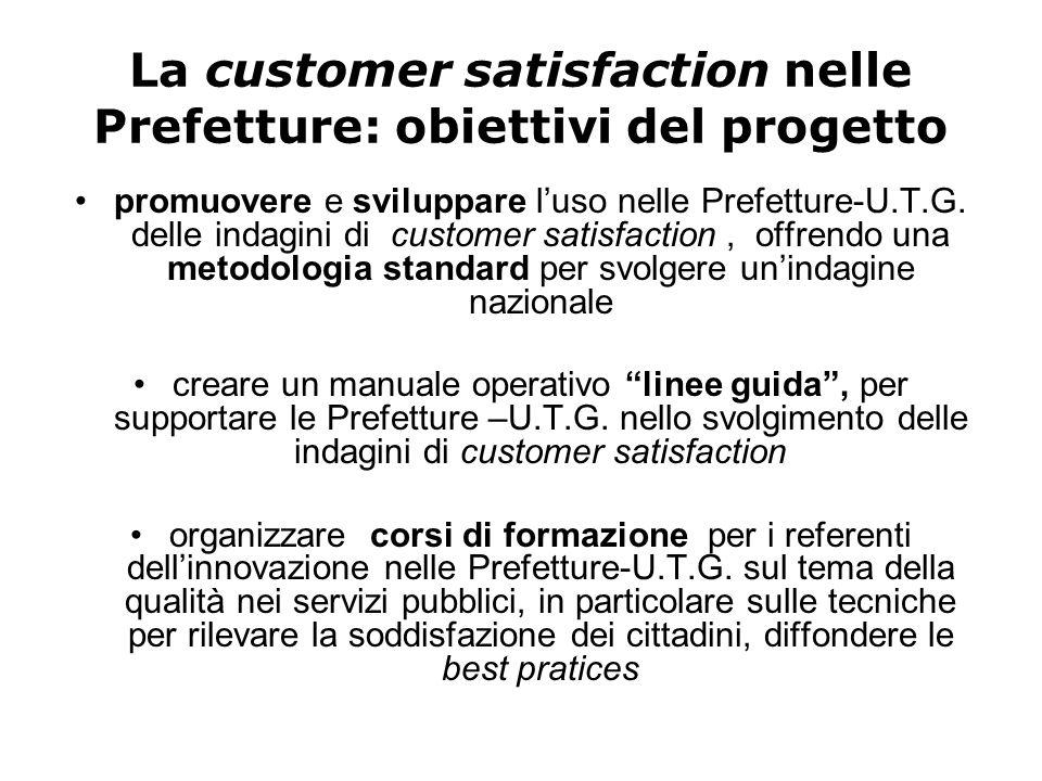La customer satisfaction nelle Prefetture: obiettivi del progetto promuovere e sviluppare l'uso nelle Prefetture-U.T.G. delle indagini di customer sat
