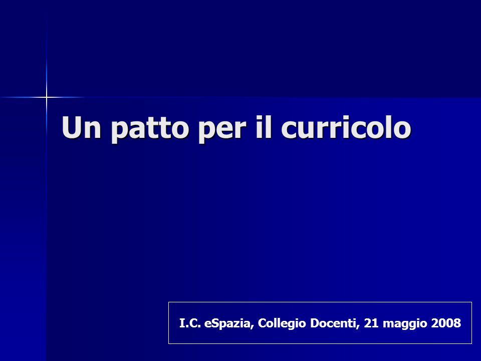 Un patto per il curricolo I.C. eSpazia, Collegio Docenti, 21 maggio 2008