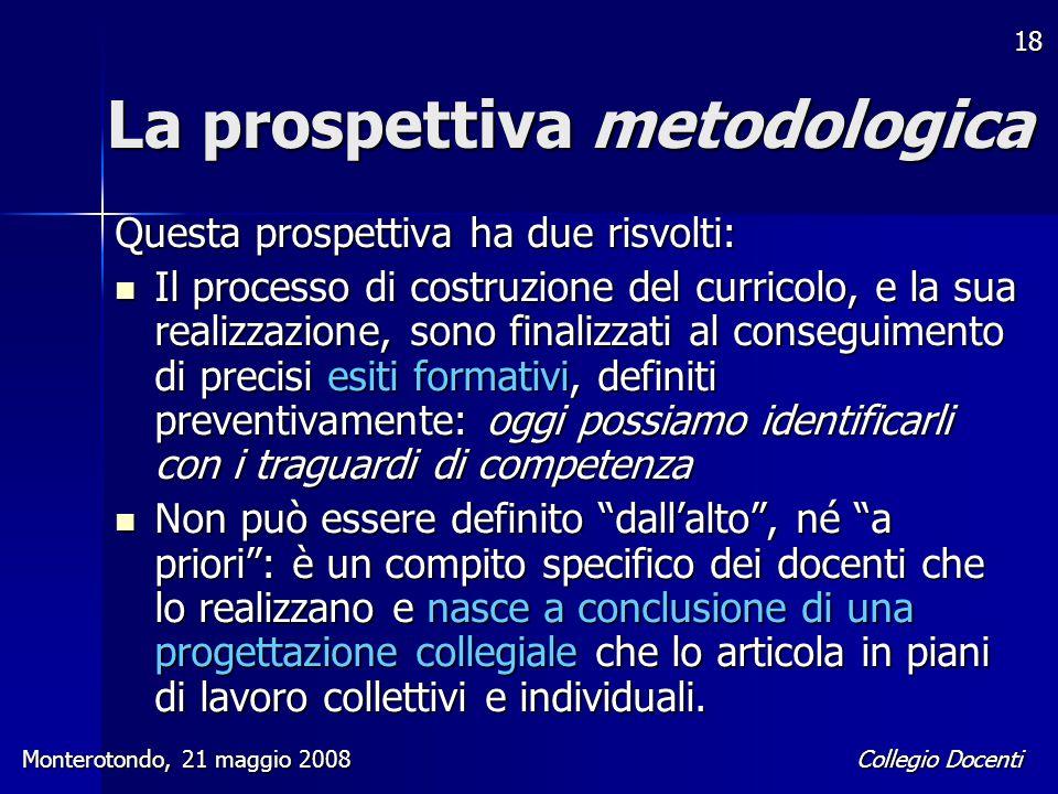 Collegio Docenti Monterotondo, 21 maggio 2008 18 La prospettiva metodologica Questa prospettiva ha due risvolti: Il processo di costruzione del curric