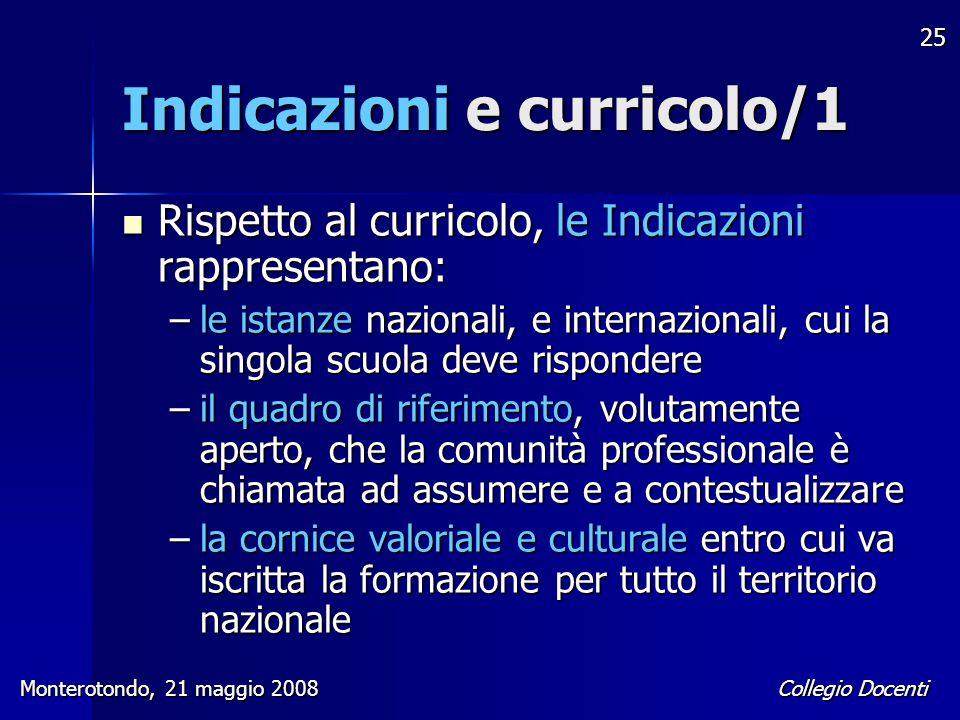 Collegio Docenti Monterotondo, 21 maggio 2008 25 Indicazioni e curricolo/1 Rispetto al curricolo, le Indicazioni rappresentano: Rispetto al curricolo,