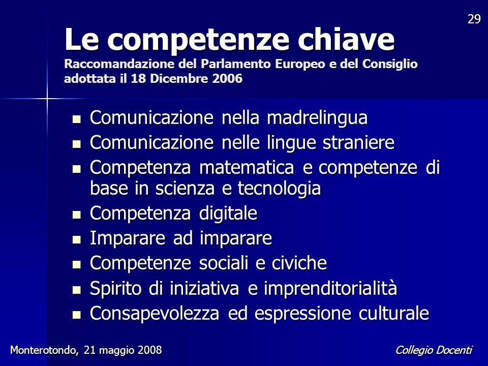 Collegio Docenti Monterotondo, 21 maggio 2008 29 Le competenze chiave Raccomandazione del Parlamento Europeo e del Consiglio adottata il 18 Dicembre 2