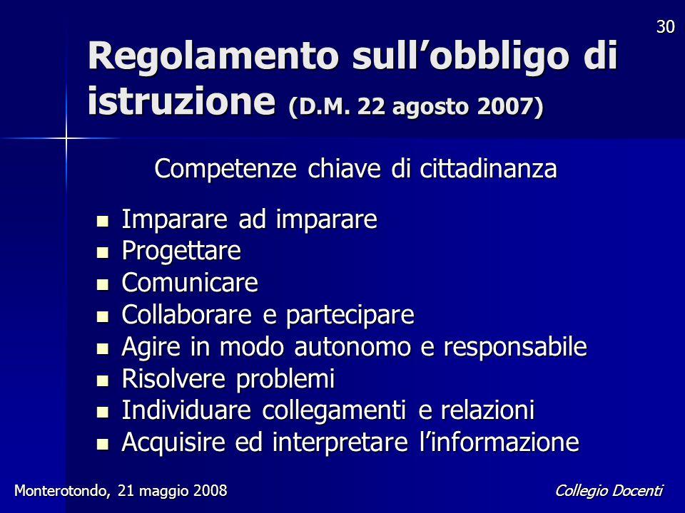 Collegio Docenti Monterotondo, 21 maggio 2008 30 Regolamento sull'obbligo di istruzione (D.M. 22 agosto 2007) Competenze chiave di cittadinanza Impara