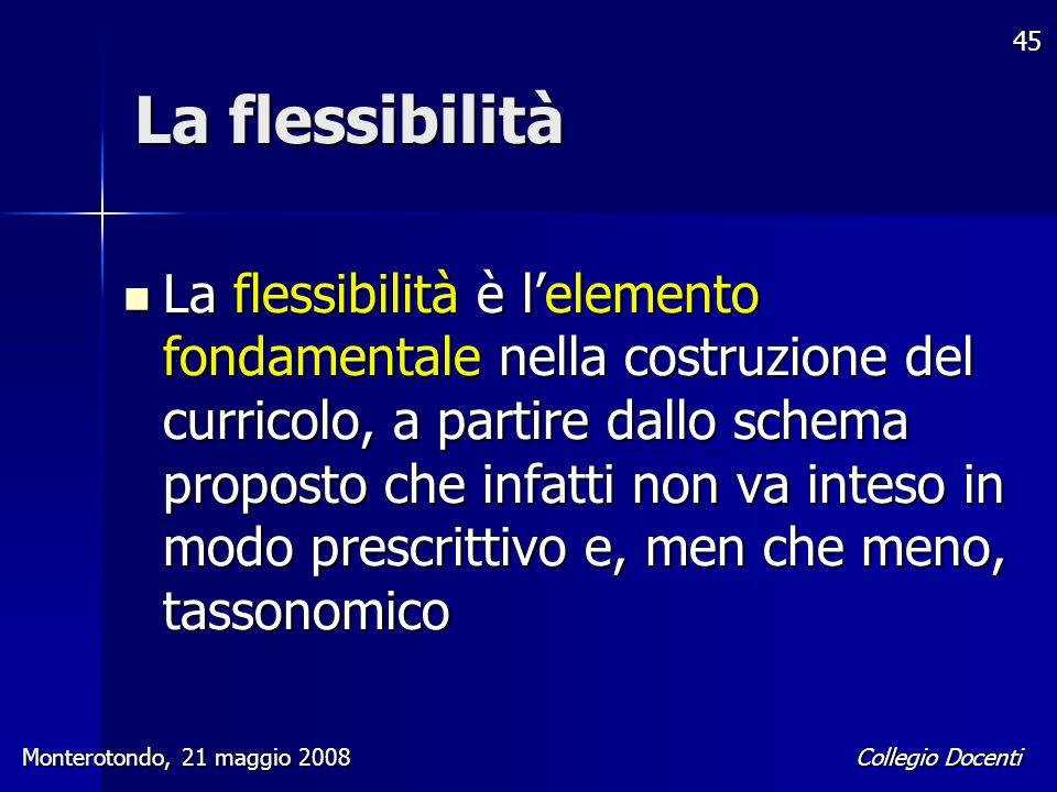 Collegio Docenti Monterotondo, 21 maggio 2008 45 La flessibilità La flessibilità è l'elemento fondamentale nella costruzione del curricolo, a partire
