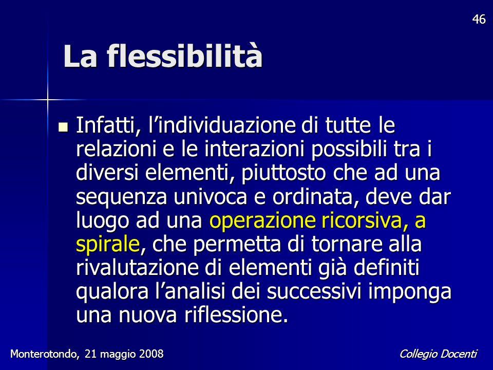 Collegio Docenti Monterotondo, 21 maggio 2008 46 La flessibilità Infatti, l'individuazione di tutte le relazioni e le interazioni possibili tra i dive