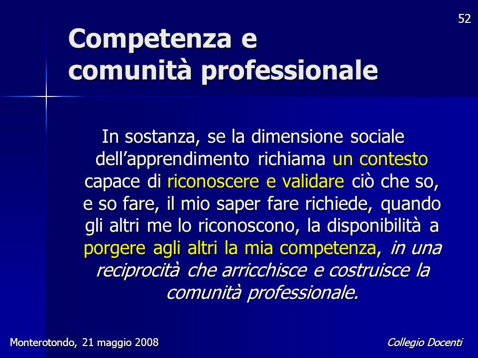 Collegio Docenti Monterotondo, 21 maggio 2008 52 In sostanza, se la dimensione sociale dell'apprendimento richiama un contesto capace di riconoscere e