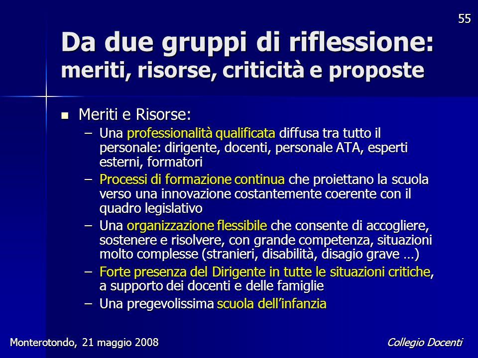 Collegio Docenti Monterotondo, 21 maggio 2008 55 Da due gruppi di riflessione: meriti, risorse, criticità e proposte Meriti e Risorse: Meriti e Risors