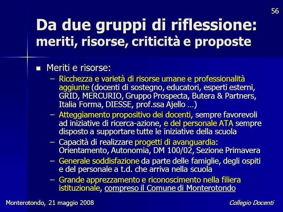 Collegio Docenti Monterotondo, 21 maggio 2008 56 Da due gruppi di riflessione: meriti, risorse, criticità e proposte Meriti e risorse: Meriti e risors