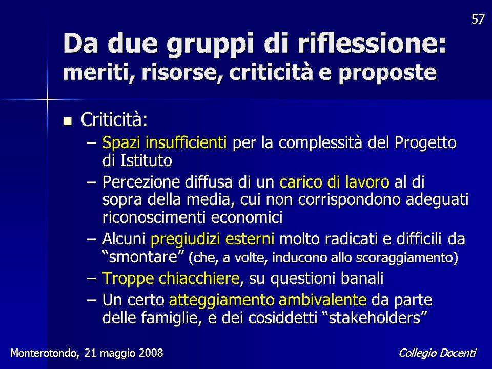 Collegio Docenti Monterotondo, 21 maggio 2008 57 Da due gruppi di riflessione: meriti, risorse, criticità e proposte Criticità: Criticità: –Spazi insu