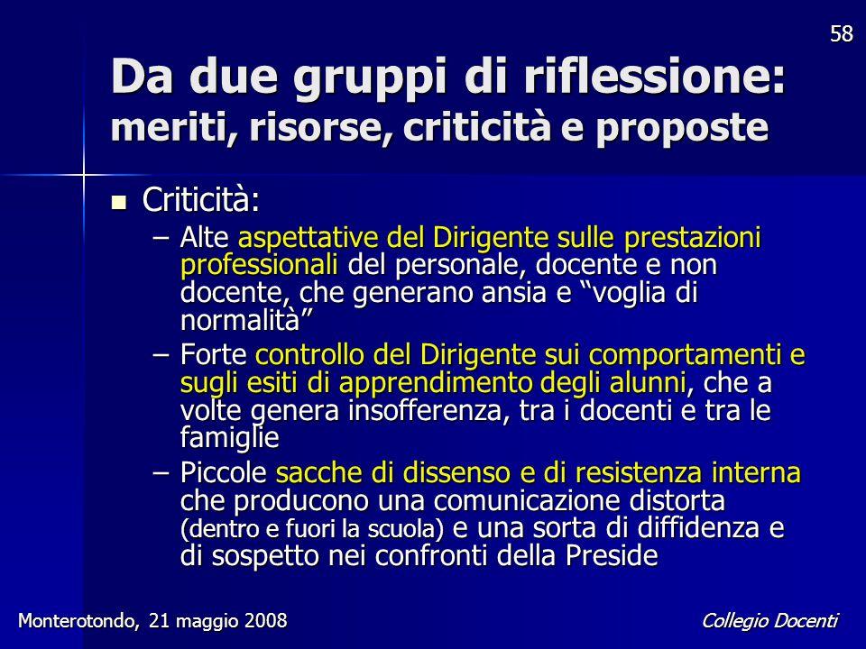Collegio Docenti Monterotondo, 21 maggio 2008 58 Da due gruppi di riflessione: meriti, risorse, criticità e proposte Criticità: Criticità: –Alte aspet