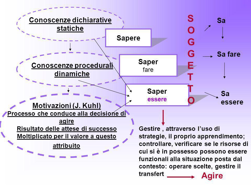Conoscenze dichiarative statiche Conoscenze procedurali dinamiche Motivazioni (J. Kuhl) Processo che conduce alla decisione di agire Risultato delle a