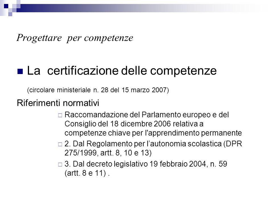 Progettare per competenze La certificazione delle competenze (circolare ministeriale n. 28 del 15 marzo 2007) Riferimenti normativi  Raccomandazione