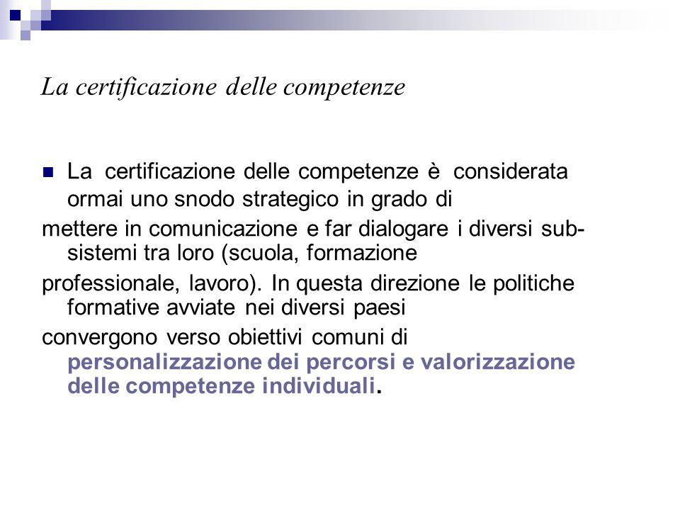 La certificazione delle competenze La certificazione delle competenze è considerata ormai uno snodo strategico in grado di mettere in comunicazione e
