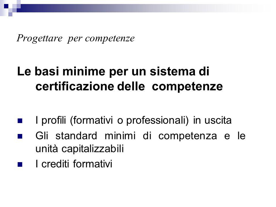 Progettare per competenze Le basi minime per un sistema di certificazione delle competenze I profili (formativi o professionali) in uscita Gli standar