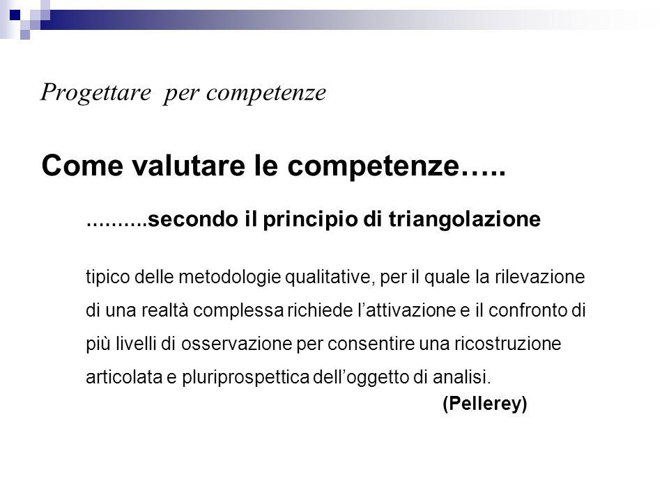 Progettare per competenze Come valutare le competenze….. ………. secondo il principio di triangolazione tipico delle metodologie qualitative, per il qual
