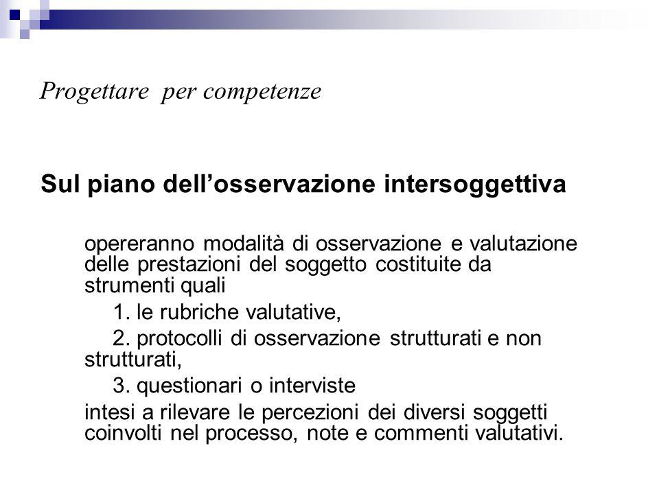 Progettare per competenze Sul piano dell'osservazione intersoggettiva opereranno modalità di osservazione e valutazione delle prestazioni del soggetto