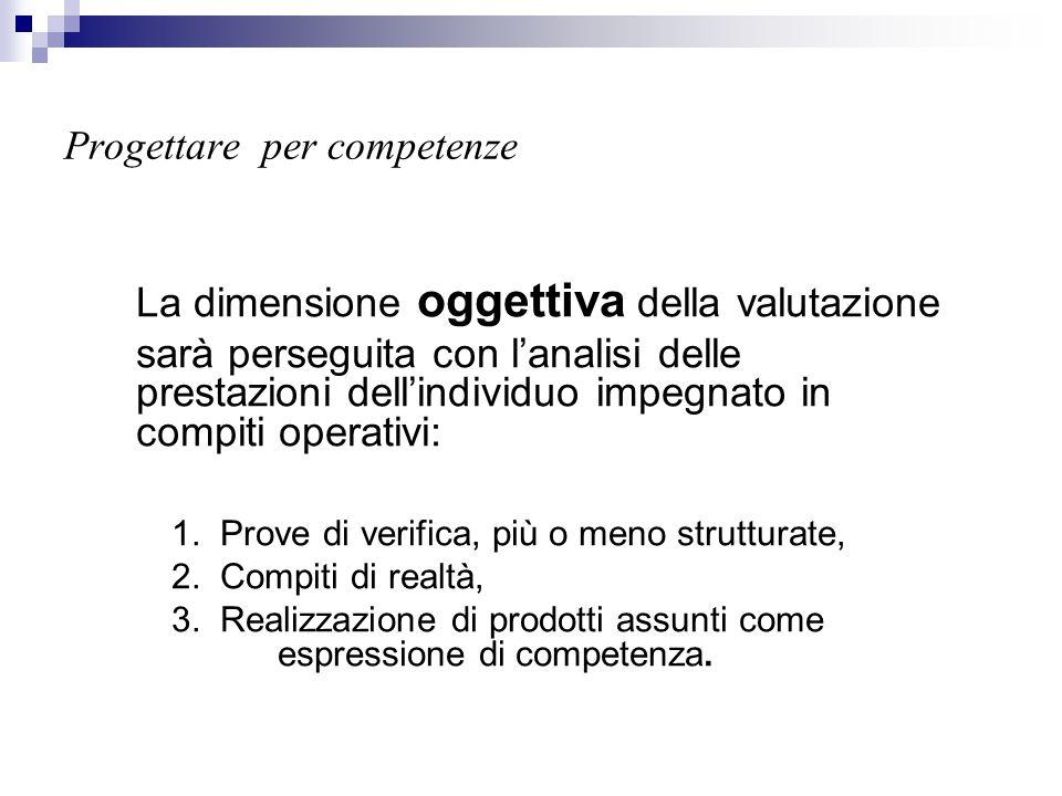 Progettare per competenze La dimensione oggettiva della valutazione sarà perseguita con l'analisi delle prestazioni dell'individuo impegnato in compit