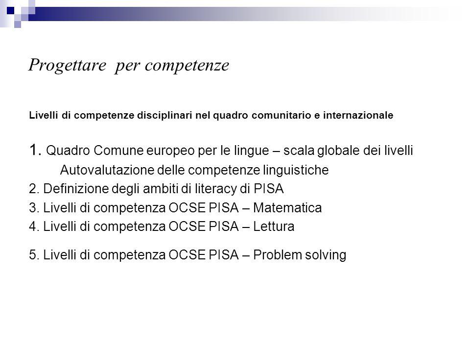 Progettare per competenze Livelli di competenze disciplinari nel quadro comunitario e internazionale 1. Quadro Comune europeo per le lingue – scala gl