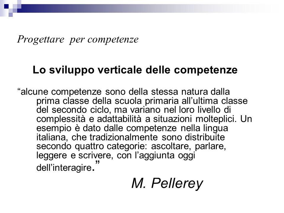 """Progettare per competenze Lo sviluppo verticale delle competenze """"alcune competenze sono della stessa natura dalla prima classe della scuola primaria"""