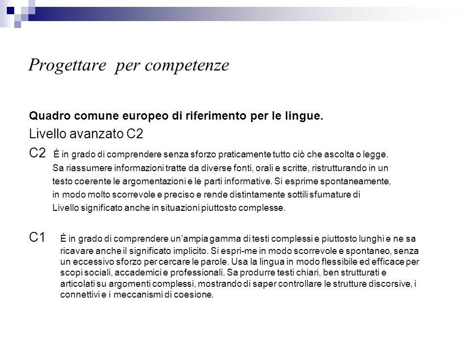 Progettare per competenze Quadro comune europeo di riferimento per le lingue. Livello avanzato C2 C2 È in grado di comprendere senza sforzo praticamen