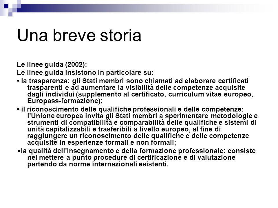 Una breve storia Le linee guida (2002): Le linee guida insistono in particolare su: la trasparenza: gli Stati membri sono chiamati ad elaborare certif