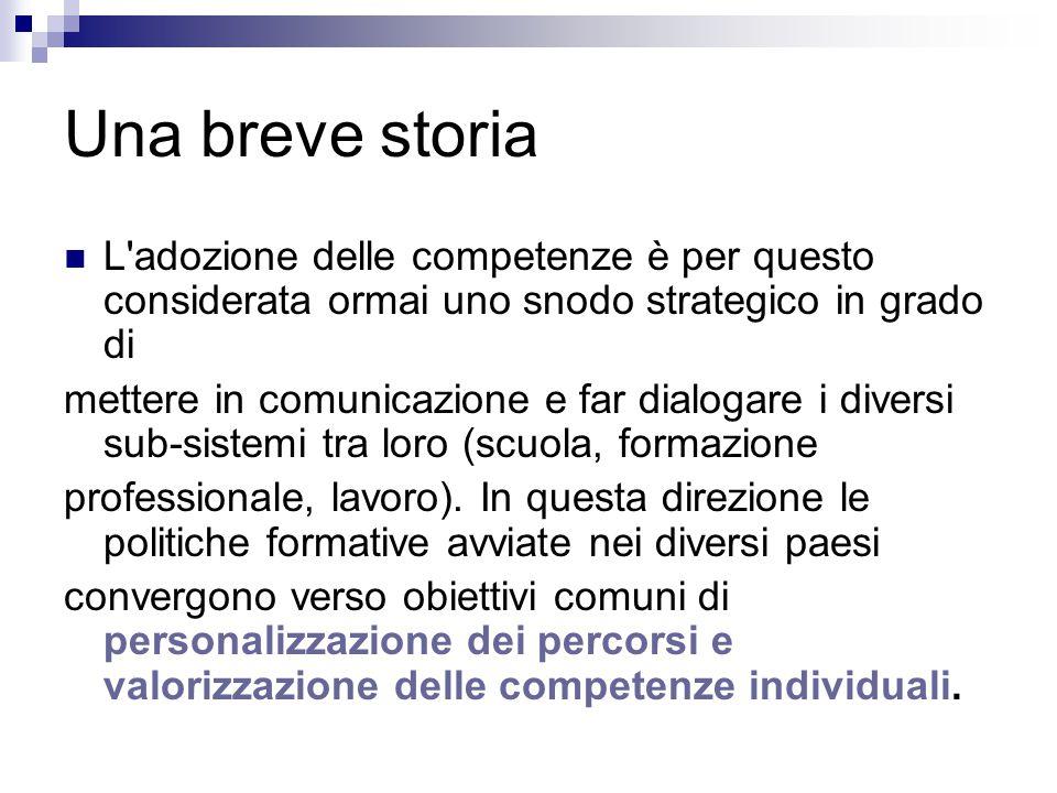 Una breve storia L'adozione delle competenze è per questo considerata ormai uno snodo strategico in grado di mettere in comunicazione e far dialogare