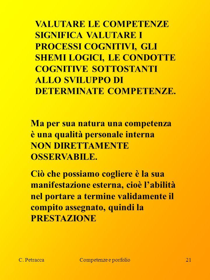 C. PetraccaCompetenze e porfolio21 VALUTARE LE COMPETENZE SIGNIFICA VALUTARE I PROCESSI COGNITIVI, GLI SHEMI LOGICI, LE CONDOTTE COGNITIVE SOTTOSTANTI