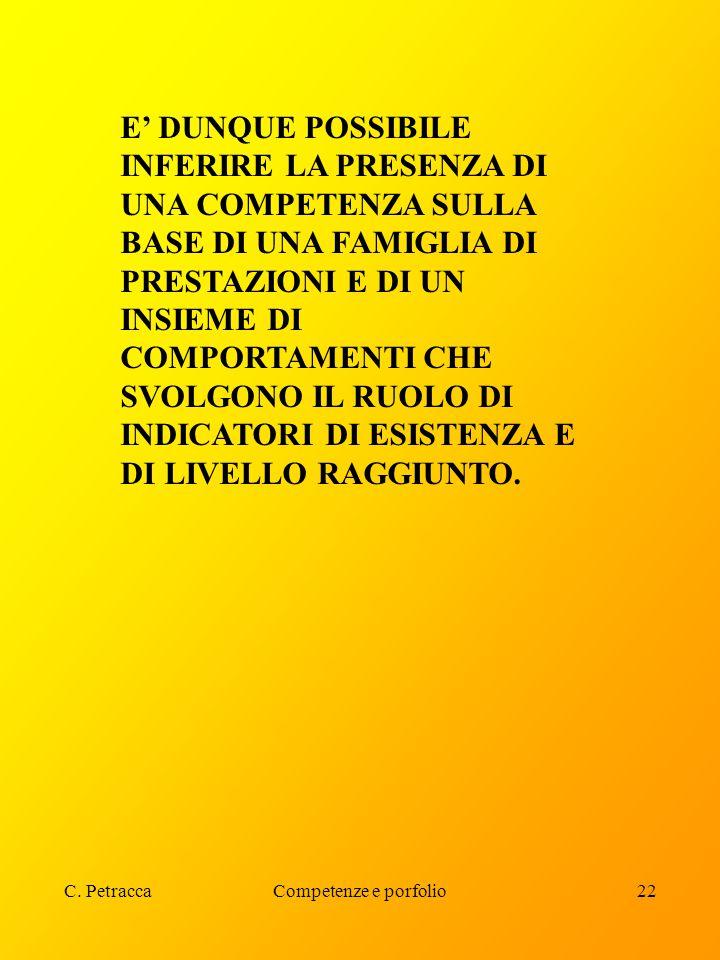 C. PetraccaCompetenze e porfolio22 E' DUNQUE POSSIBILE INFERIRE LA PRESENZA DI UNA COMPETENZA SULLA BASE DI UNA FAMIGLIA DI PRESTAZIONI E DI UN INSIEM