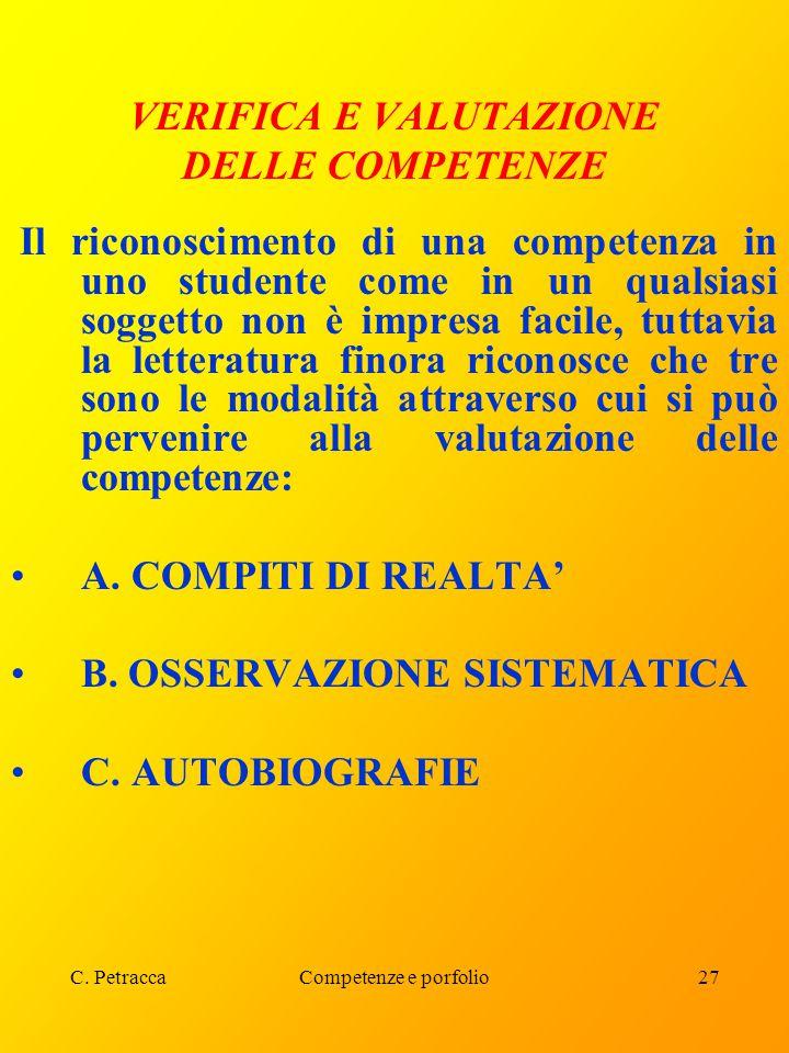 C. PetraccaCompetenze e porfolio27 VERIFICA E VALUTAZIONE DELLE COMPETENZE Il riconoscimento di una competenza in uno studente come in un qualsiasi so