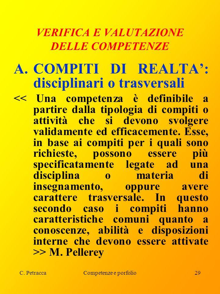 C. PetraccaCompetenze e porfolio29 VERIFICA E VALUTAZIONE DELLE COMPETENZE A.COMPITI DI REALTA': disciplinari o trasversali > M. Pellerey