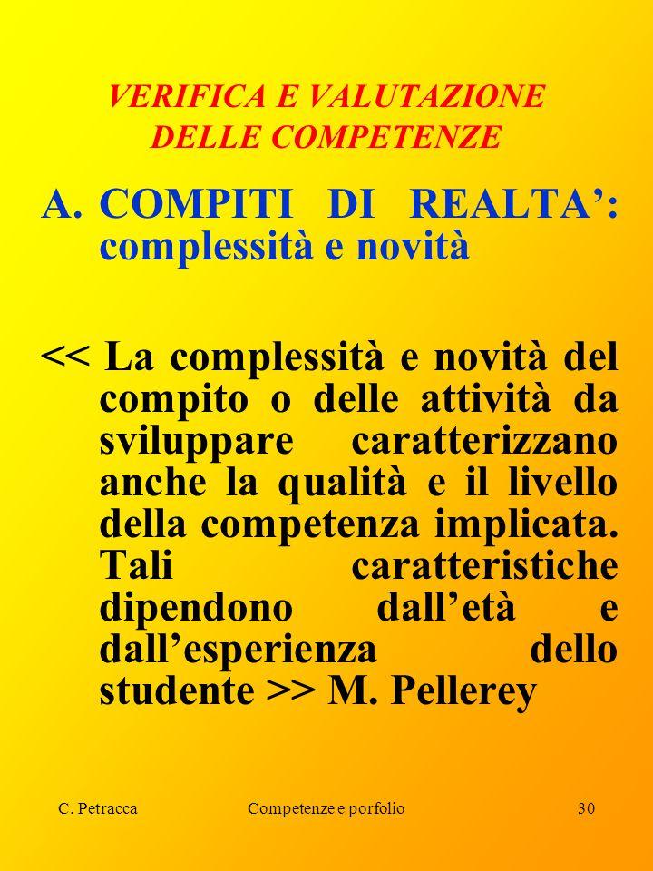 C. PetraccaCompetenze e porfolio30 VERIFICA E VALUTAZIONE DELLE COMPETENZE A.COMPITI DI REALTA': complessità e novità > M. Pellerey