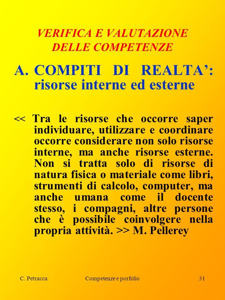 C. PetraccaCompetenze e porfolio31 VERIFICA E VALUTAZIONE DELLE COMPETENZE A.COMPITI DI REALTA': risorse interne ed esterne > M. Pellerey