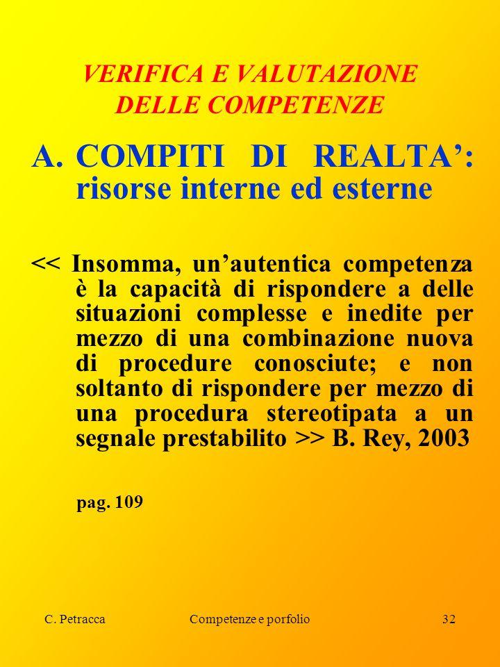 C. PetraccaCompetenze e porfolio32 VERIFICA E VALUTAZIONE DELLE COMPETENZE A.COMPITI DI REALTA': risorse interne ed esterne > B. Rey, 2003 pag. 109