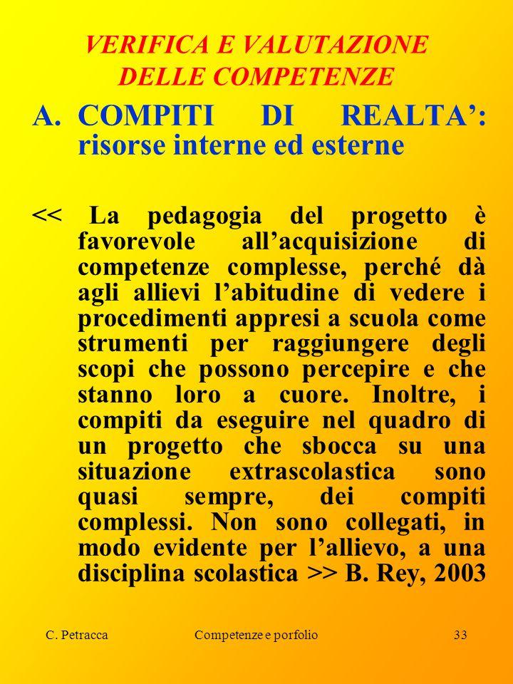 C. PetraccaCompetenze e porfolio33 VERIFICA E VALUTAZIONE DELLE COMPETENZE A.COMPITI DI REALTA': risorse interne ed esterne > B. Rey, 2003