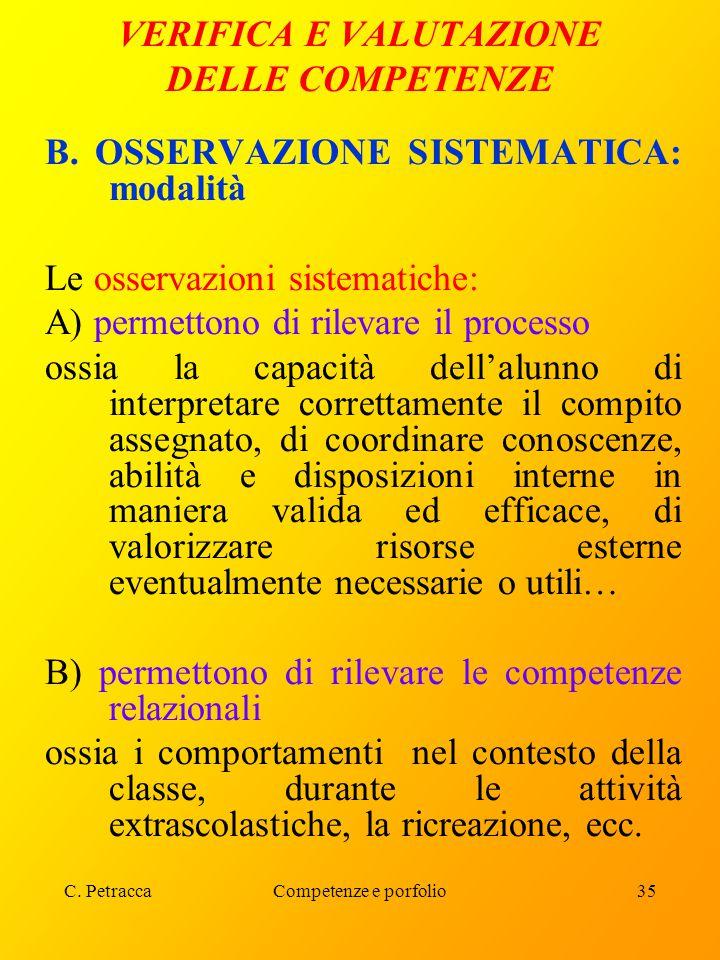 C. PetraccaCompetenze e porfolio35 VERIFICA E VALUTAZIONE DELLE COMPETENZE B. OSSERVAZIONE SISTEMATICA: modalità Le osservazioni sistematiche: A) perm