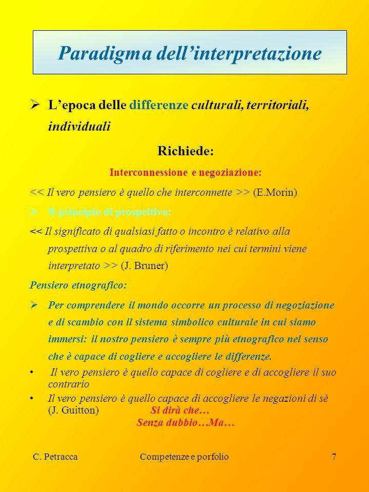 C. PetraccaCompetenze e porfolio7 Paradigma dell'interpretazione  L'epoca delle differenze culturali, territoriali, individuali Richiede: Interconnes