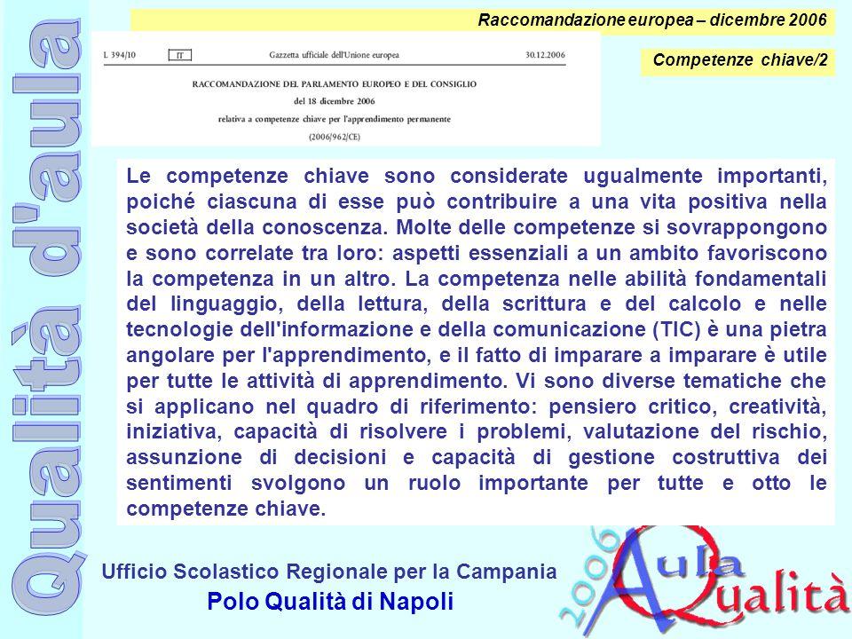 Ufficio Scolastico Regionale per la Campania Polo Qualità di Napoli Raccomandazione europea – dicembre 2006 Le competenze chiave sono considerate ugua