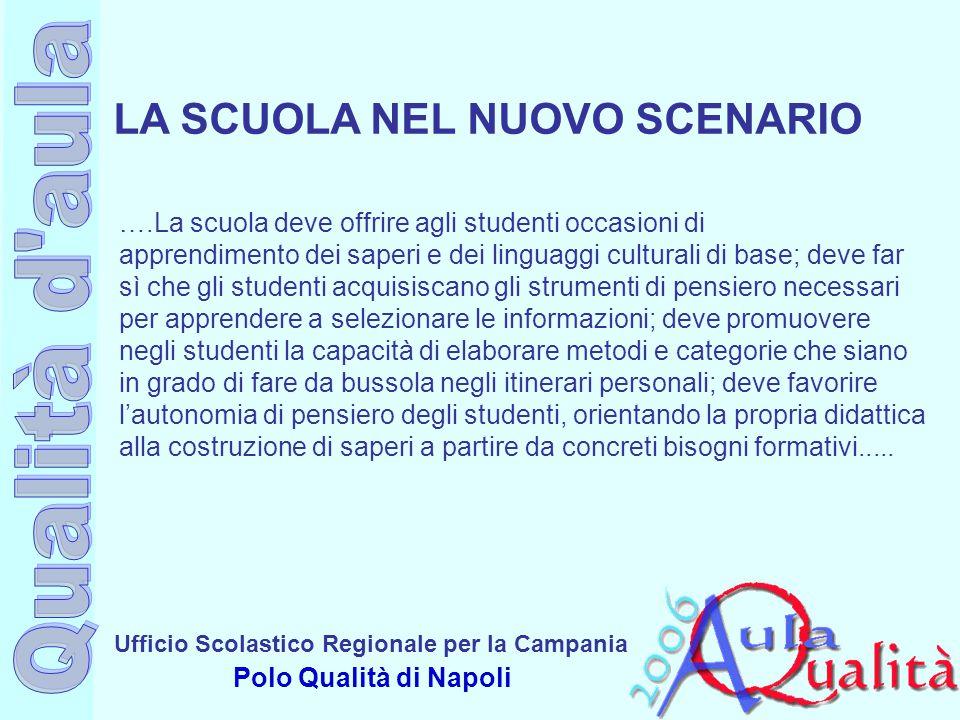 Ufficio Scolastico Regionale per la Campania Polo Qualità di Napoli ….La scuola deve offrire agli studenti occasioni di apprendimento dei saperi e dei