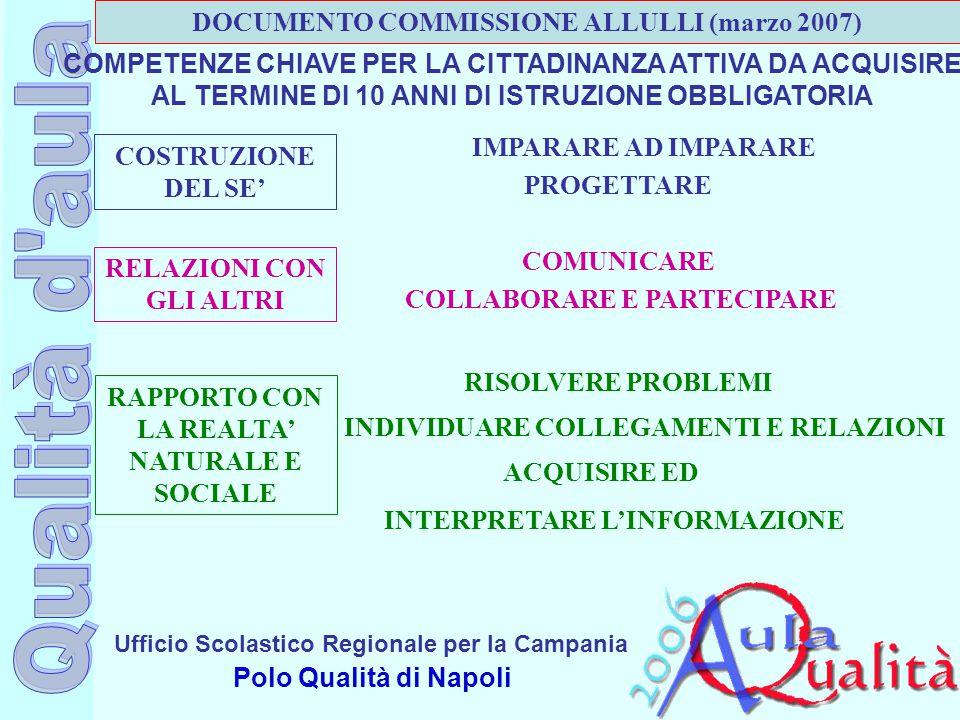 Ufficio Scolastico Regionale per la Campania Polo Qualità di Napoli COMPETENZE CHIAVE PER LA CITTADINANZA ATTIVA DA ACQUISIRE AL TERMINE DI 10 ANNI DI