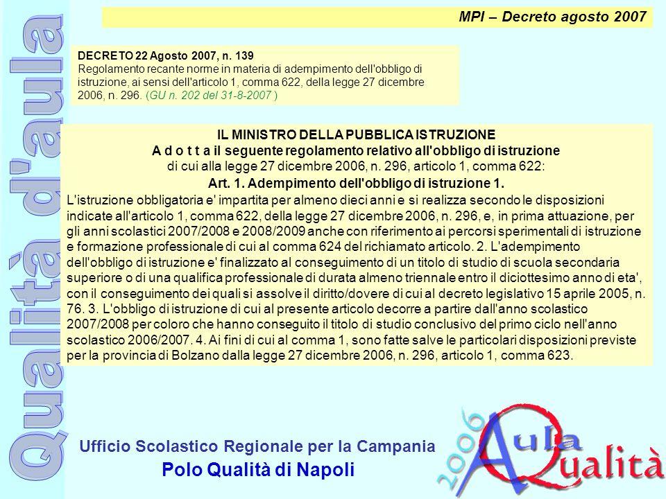 Ufficio Scolastico Regionale per la Campania Polo Qualità di Napoli MPI – Decreto agosto 2007 IL MINISTRO DELLA PUBBLICA ISTRUZIONE A d o t t a il seg