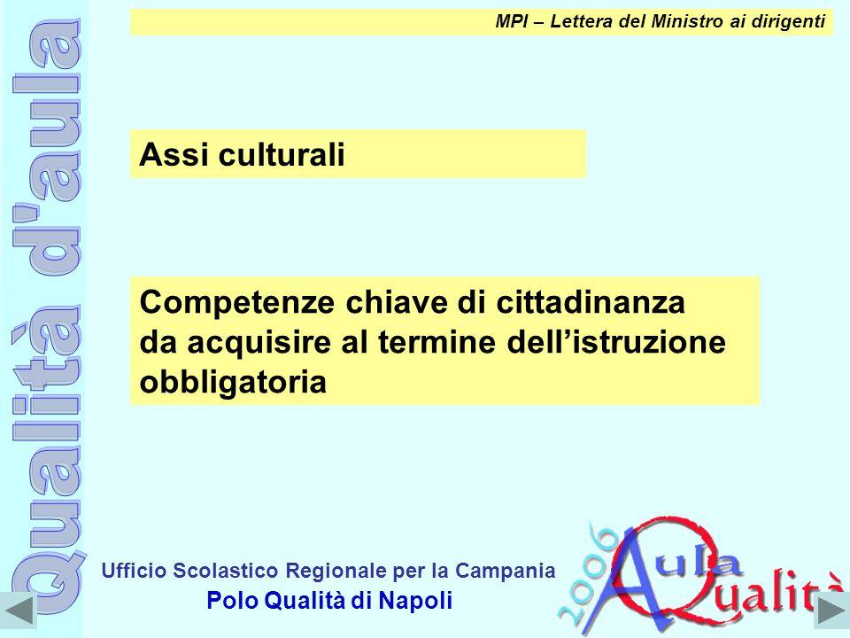 Ufficio Scolastico Regionale per la Campania Polo Qualità di Napoli MPI – Lettera del Ministro ai dirigenti Assi culturali Competenze chiave di cittad