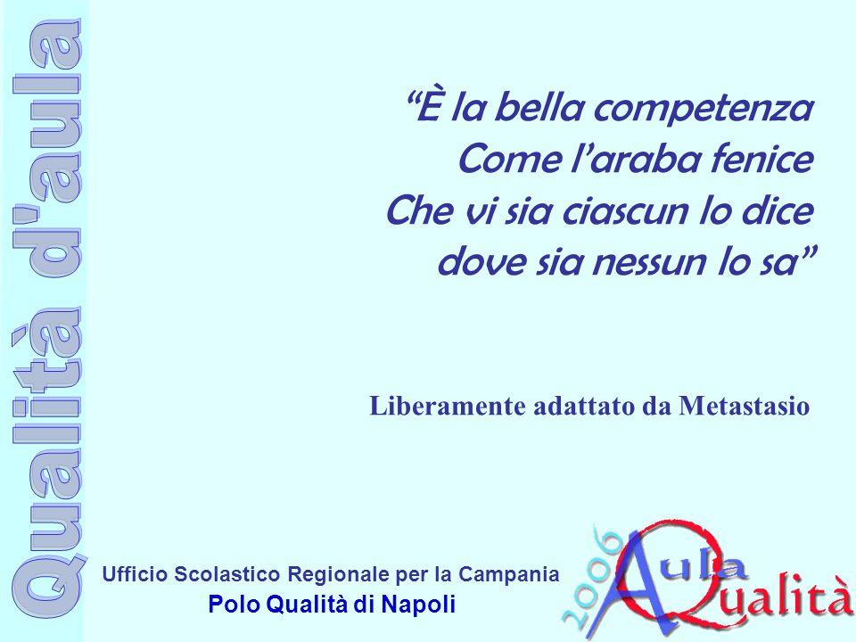 """Ufficio Scolastico Regionale per la Campania Polo Qualità di Napoli """"È la bella competenza Come l'araba fenice Che vi sia ciascun lo dice dove sia nes"""