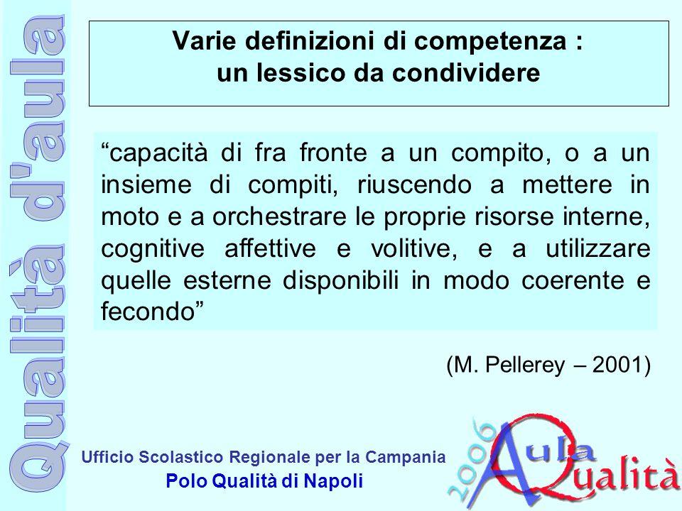 """Ufficio Scolastico Regionale per la Campania Polo Qualità di Napoli Varie definizioni di competenza : un lessico da condividere """"capacità di fra front"""